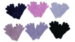 60 Units of Womens Fuzzy Winter Stretch Gloves - Knitted Stretch Gloves