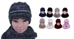 24 Units of Womens Girls Fashion Winter warm Knitted Hat And Beanie Set - Winter Sets Scarves , Hats & Gloves