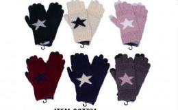 36 Units of Womens Girls Printed Star Winter Glove - Knitted Stretch Gloves