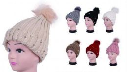 36 Units of Women Knit Winter Turn up Beanie Hat with Pearl And Pompom - Winter Beanie Hats