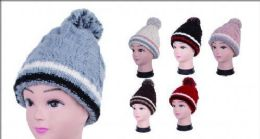 36 Units of Women Knit Winter Turn Up Beanie Hat With Pompom - Winter Beanie Hats