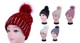 36 Units of Women Winter Acrylic Diamond Pompom Knitted Beanie Hats Warm Hat - Winter Beanie Hats