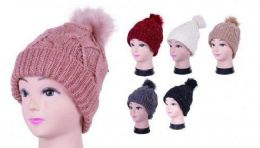 36 Units of Women Knit Slouchy Beanie Chunky Baggy Hat With Faux Fur Pompom Winter Soft Warm Ski Cap - Winter Beanie Hats