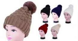 36 Units of Women Knit Slouchy Beanie Chunky Baggy Hat with Faux Fur Tye Dye Pom Pom - Winter Beanie Hats