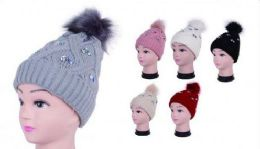 36 Units of Women Cozy Winter Beanie With Rhinestones And Faux Fur Pom Pom - Winter Beanie Hats