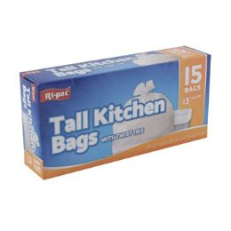 24 Units of Trash Bags 15 Count 13 Gallon - Garbage & Storage Bags
