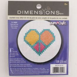 72 Units of Craft Kit Cross Stitch Wood Hoop Peace And Love - Craft Kits