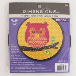 72 Units of Craft Kit Cross Stitch Wood Hoop Little Owl - Craft Kits
