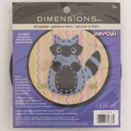 72 Units of Craft Kit Cross Stitch Wood Hoop Little Raccoon - Craft Kits