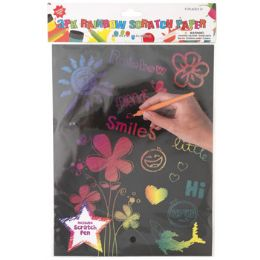 36 Units of Rainbow Scratch Paper - Paint, Brushes & Finger Paint