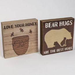 24 Units of Box Sign Wooden Bear Or Honey - Home Decor