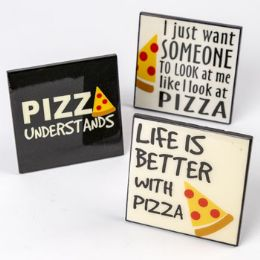 192 Units of Desk Plaque Pizza Party Printed - Home Decor