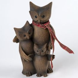 8 Units of Figurine 3 Piece Family Owl - Home Decor