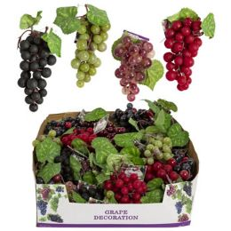 48 Units of Grape Decor Small Cluster With Silk Leaves - Home Decor