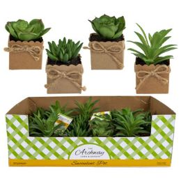 24 Units of Succulent Mini In Paper Wrapped Pot With Twine Bow - Artificial Flowers