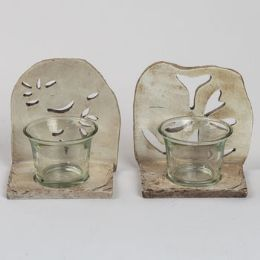 24 Units of Votive Candle Holder Polystone Patina Garden - Candles & Accessories