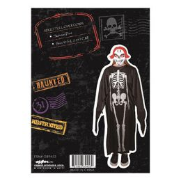 24 Units of Cape Black With Skeleton Print - Halloween & Thanksgiving