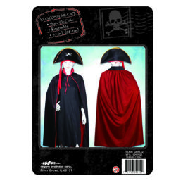 24 Units of Cape Kids Reversible Black Red With Stand Up Collar - Halloween & Thanksgiving