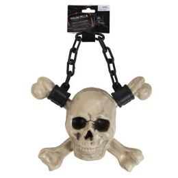 12 Units of Chained Hanging Skull And Cross Bone - Halloween & Thanksgiving