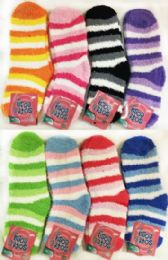60 Units of Stripped Lady Fuzzy Socks Assorted - Womens Fuzzy Socks