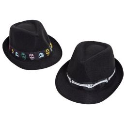 12 Units of Day Of The Dead Mens Costume Hat Black - Halloween & Thanksgiving
