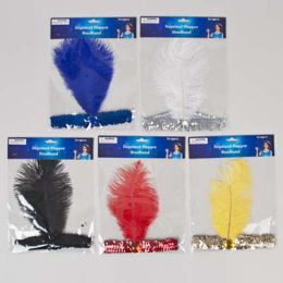 72 Units of Flapper Headband With Sequin Band And Feather - Halloween & Thanksgiving