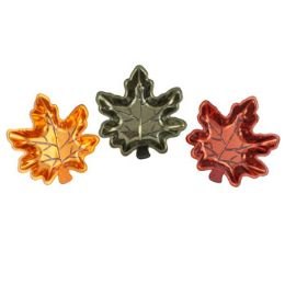 36 Units of Leaf Dish Metallic - Halloween & Thanksgiving