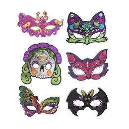 48 Units of Mask Half Style Metallic Look - Halloween & Thanksgiving