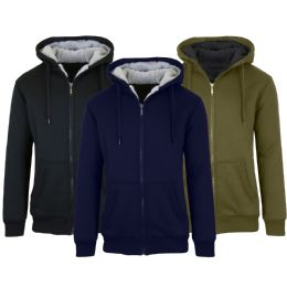 12 Units of Mens Fleece Line Sherpa Hoodies Assorted Colors And Sizes - Mens Clothes for The Homeless and Charity