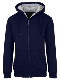 12 Units of Mens Navy Fleece Line Sherpa Hoodies Assorted Sizes - Mens Clothes for The Homeless and Charity