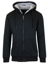 12 Units of Mens Black Fleece Line Sherpa Hoodies Assorted Sizes - Mens Clothes for The Homeless and Charity