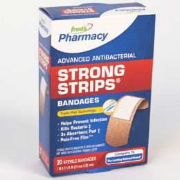 72 Units of Bandages 20 Count Strong Strips Antibacterial Boxed Freds Pharmacy Label - Bandages and Support Wraps