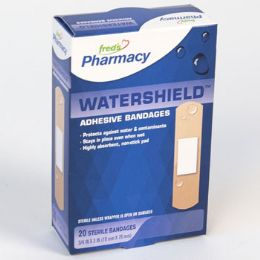 72 Units of Bandages 20 Count Watershield Plastic Boxed Freds Pharmacy Label - Bandages and Support Wraps