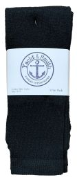 240 Units of Yacht & Smith Women's Cotton Tube Socks, Referee Style, Size 9-15 Solid Black Bulk Pack - Women's Socks for Homeless and Charity