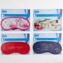 96 Units of Eye Mask Satin Assorted Design - Bath And Body