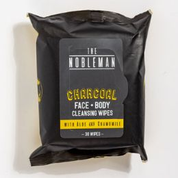 24 Units of Face And Body Mens Wipe Charcoal Cleansing Nobleman With Aloe And Chamomile - Bath And Body