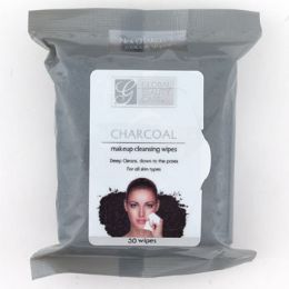 24 Units of Facial Makeup Cleansing Wipes Charcoal - Bath And Body