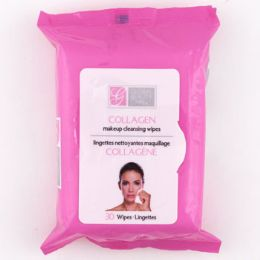 24 Units of Facial Makeup Cleansing Wipes Collagen - Bath And Body