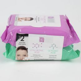 24 Units of Facial Wipes Hyaluronic Acid And Glycolic Acid - Bath And Body