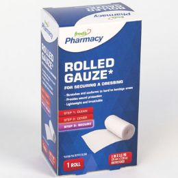 72 Units of Gauze Rolled Boxed Freds Pharmacy Label - Bandages and Support Wraps