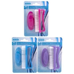 72 Units of 2 Pack Set Nail Brush - Manicure and Pedicure Items