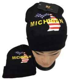 36 Units of Michigan Winter Beanie Hat - Winter Beanie Hats