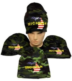 24 Units of Winter Beanie Hat Michigan Camo - Winter Beanie Hats