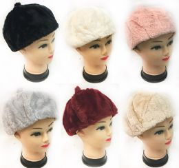 36 Units of Faux Fur Ladies Winter Hat Assorted Colors - Fashion Winter Hats