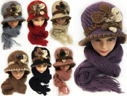 24 Units of Knitted Women's Winter Hat And Scarf Set Assorted Colors - Winter Sets Scarves , Hats & Gloves