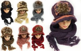 24 Units of Women's Winter Knitted Hat And Scarf Sets Assorted - Winter Sets Scarves , Hats & Gloves
