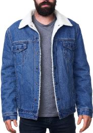 12 Units of Mens Denim Sherpa Jacket - Mens Clothes for The Homeless and Charity