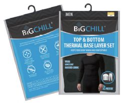 24 Units of Men's Thermal Set In Black With Brushed Lining - Mens Thermals