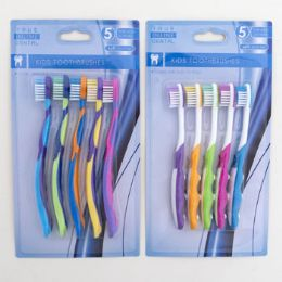 36 Units of Toothbrush 5pc Kids Two Assorted Colors Age Groups 2-6 - Toothbrushes and Toothpaste