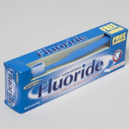 24 Units of Toothpaste Fluoride With Toothbrush Regular Flavor - Toothbrushes and Toothpaste